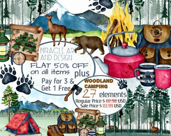 Watercolor Camping clip art,Summer Outdoor Woodland Adventure Travel Activity clipart set,nature,mountains,trees,tent,bear,deer clipart,