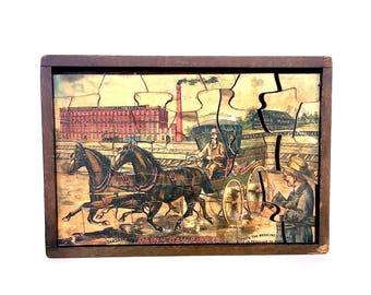 Hood's Sarsaparilla Rainy Day Puzzle - Vintage Advertising Puzzle Decor - Antique Jigsaw Puzzle - Victorian Puzzle - Advertisement Puzzle