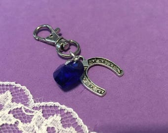 Something Blue Good Luck Crystal Heart and Lucky Horseshoe Charm, Bouquet Charm, Brides Good Luck Charm, Lucky Horseshoe Charm