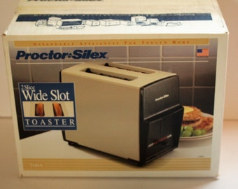 Vintage Protector Silex 2 Slice Wide Slot Toaster T644A Almond and Black New in box