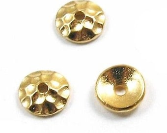 TierraCast Pewter Bead Caps-Bright Gold Hammertone 6mm (8)