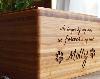 Pet Urn, Memorial Box, Bamboo or Cedar, Personalized, Dog, Cat, Eco-Friendly
