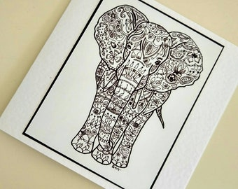 Her Majesty handmade fine art card from original elephant drawing by Bee Skelton. Any occasion birthday gift anniversary thank you