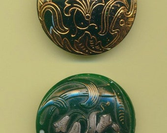 Antique Victorian Green Glass Buttons ca. 1890's Lot of 2