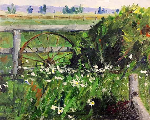 """Wagon Wheel"" - 8""x10"" - Jackson Hole - Acrylic on Panel"