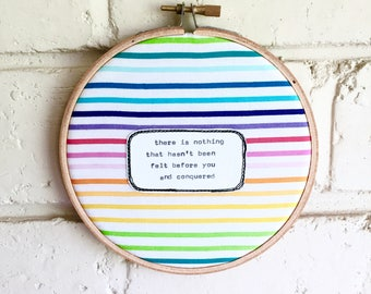 Repurposed fabric embroidery hoop wall art. Home decor. Original poem. Rainbow. Love is love. Conquer. Fight. Gift Decoration. Wall hanging.