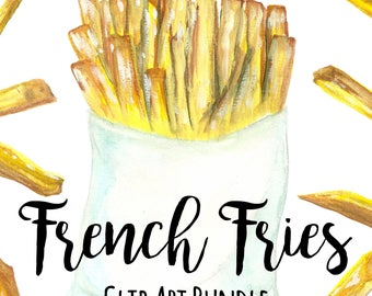 French Fries Clip Art BUNDLE, Fast Food Clip Art, Watercolor Clip Art, INSTANT DOWNLOAD, French Fry Art, Snack Clip Art, Fried Food Clip Art