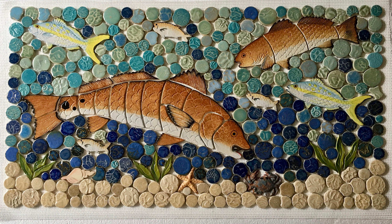 Diy ceramic tile mosaic redfish backsplash 14x22 zoom dailygadgetfo Images