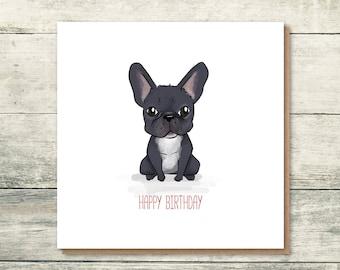 French Bulldog Birthday Card | Frenchie Card | French Bulldog Illustration | Frenchie Lover | Cute Birthday Card