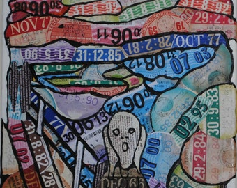 Munch The Scream using tax discs: Limited edition postcard of original art from tax discs