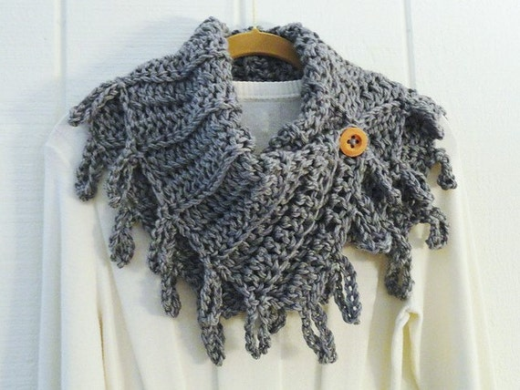 Crochet Button Scarf Cowl Heather Gray Wood Button Loopy