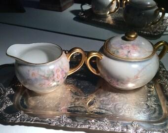 Vintage Hand Painted Fine China Cream and Sugar Set