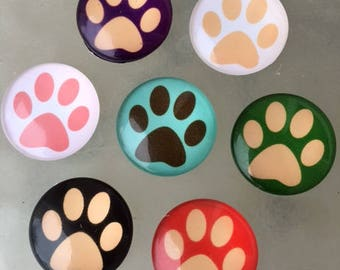 20 PAW PRINTS Puppy Dog Cat Bear Animal Lover 25mm Glass Domes Cabochons Pendants Pet Pets Jewelry Ready to Use Digital Images Printed