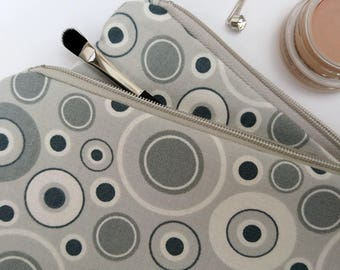 Cosmetic bags, grey makeup bags, makeup bag large, pencil case large, zipper pouch set, gift for her, grey gift
