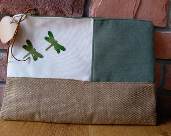 green beige clutch bag