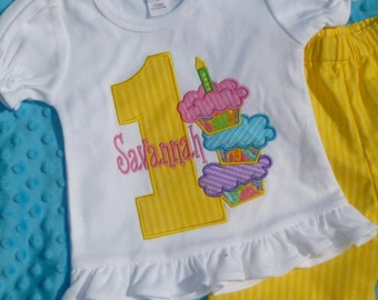 Personalized Birthday Triple Cupcake Applique Shirt or Bodysuit Girl or Boy