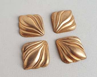 Vintage brass squared findings