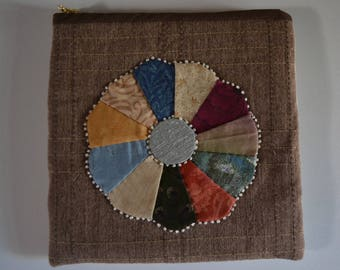 Patchwork pouch with metal zipper,  hand stitched cotton purse