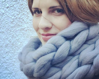 Chunky snood - giant knit infinity scarf Merino Wool