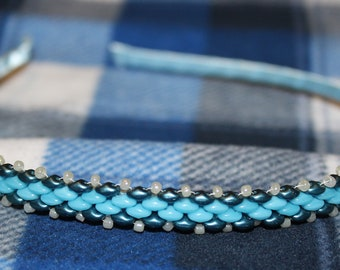 Beaded Headband-Light Blue and Teal with White accent