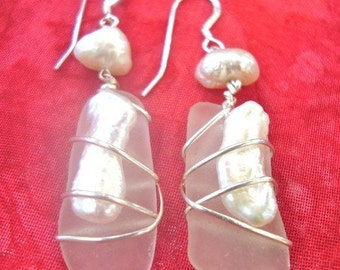 Sea glass And Pearl Earring Wrapped with Silver- Winter
