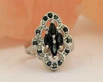 Black Onyx Ring // 925 Sterling Silver // Ring Size 6.5 // Handmade Jewelry