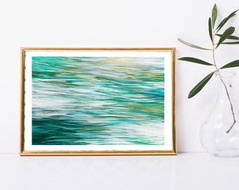 Abstract Art Printable, Abstract Ocean Painting, Abstract Water Art Print, Coastal Home Decor, Beach House Decor, Reflections Painting, 8x12
