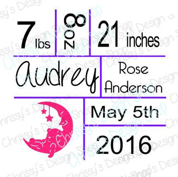 Birth Announcement Svg File  Baby Svg  Birth Announcement Template