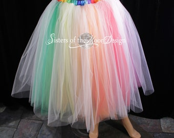 White Rainbow tutu tulle skirt tea length wedding bridal Pride bachelorette bridesmaids dance fairytale -All Sizes - XS to Plus size - SOTMD