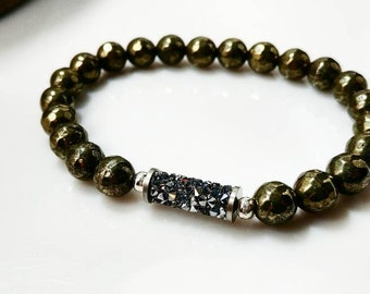 Swarovski Crushed Crystal and Pyrite Bracelet