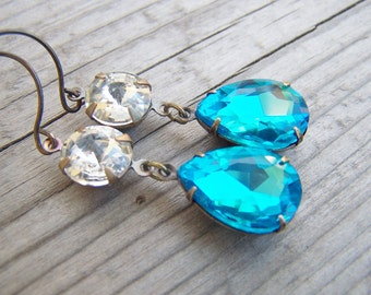 Aqua Rhinestone Earrings Pear Shaped Brass
