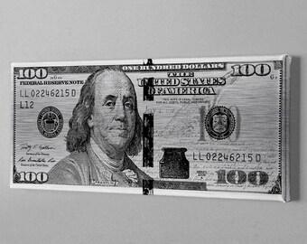 Money Art - Platinum 100 dollar bill (Benjamin Franklin Print - Wolf of wall street bill - Motivational art - Hustle canvas)