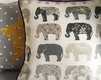 Personalised, Bespoke Cushion Pillow Handmade - Natural Elephant Cushion Bohemian