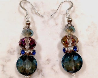 Blue and Silver Ombre Glass Drop Earrings