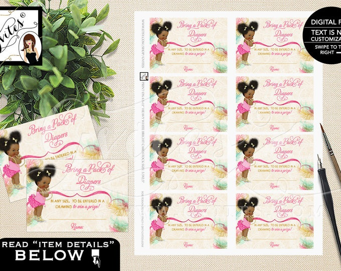 "Diaper raffle ticket, pink yellow mint diaper printable, afro baby shower diaper raffle cards, PRINTABLE 3.5x2.5"" 8/Sheet."