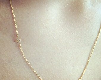 SALE! Tiny Offset Initial Necklace
