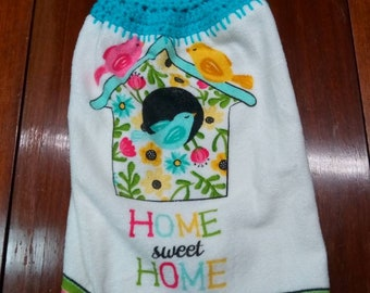 Kitchen birdhouse towel, home sweet home Kitchen dish towel, hanging dish towel,  crochet top towel towel