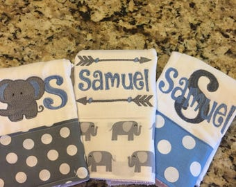 burp cloths for boys--set of 3, monogrammed burp cloth, personalized burp cloth for boys, elephant baby gift