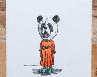 Limited Edition, Kids In Masks, Woodcut, Panda Boy, Printmaking, Handmade, Woodblock Print
