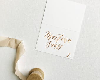 Place Card Calligraphy on Tented Card | Custom Place Card and Escort Card Calligraphy for Weddings & Special Events