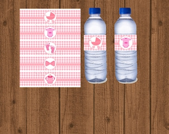 Baby Shower Water Bottle Labels, Girls Baby Shower Water Label, Pink Baby Shower, Printable Baby Shower