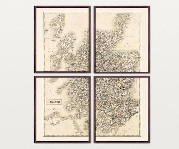 Scotland Map - Antique Map - Archival Reproduction - Scotland Art - Scotland Wall Art - Scottish - Europe  Glasgow - Map Art - Great Britain