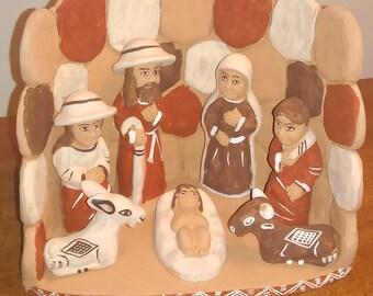 Vintage Peruvian Handmade Clay Pottery Folk Art Nativity Scene