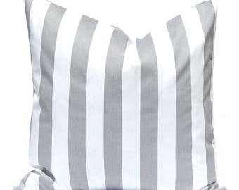 Euro Sham - Gray Throw Pillow Covers - Decorative Pillows - Accent Pillows - 20 x 20 Inches - Stripe Pillow Covers in Storm Gray