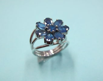 925 sterling silver flower ring with sapphire