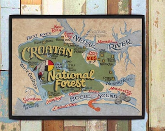 Croatan National Forest NC  Print from an original hand painted & lettered sign. Dreamcatcher, Emerald isle, Hiking Trails Outdoor adventure