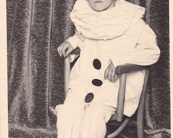 Boy In Pierrot Clown Costume - Antique French Photo Postcard
