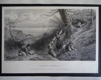 Primrose-gatherers, steel engraving, 1930