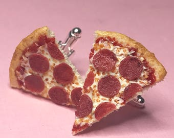 Pepperoni pizza cuff links, miniature food, food cuff links, gifts for men, handmade food art, MADE TO ORDER