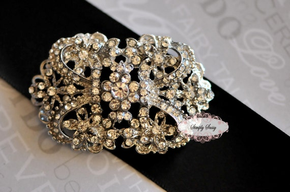 RD137 Rhinestone Embellishment Metal flatback Brooch DIY wedding